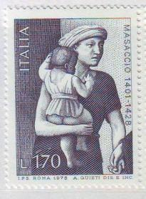 意大利 1978 画家马萨乔绘画 布施 母子 雕刻版 1全
