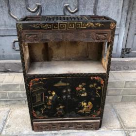 旧藏木胎漆器童子戏耍图案带柜门算盘柜算盘