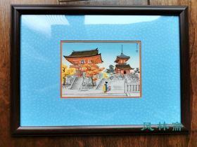 古建筑木版画 京都清水寺三重塔 明信片大小 日本进口装饰挂画 附框