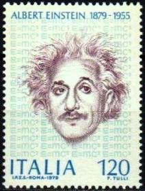 意大利 1979 爱因斯坦诞生100周年 雕刻版 1全 外国邮票