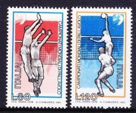 意大利 1978年 世界男排锦标赛 排球 扣球 体育 2全 外国邮票