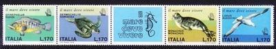 意大利邮票 1978 地中海濒临灭绝的动物 海龟 海豹 4连带附票