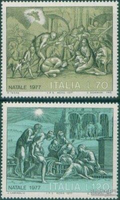 意大利 1977 圣诞节 绘画 牧人朝拜 雕刻版 2全 外国邮票