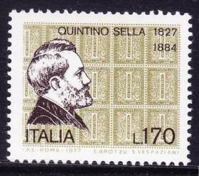 意大利 1977 政治家矿物学家昆蒂诺.塞拉诞辰150周年 外国邮票