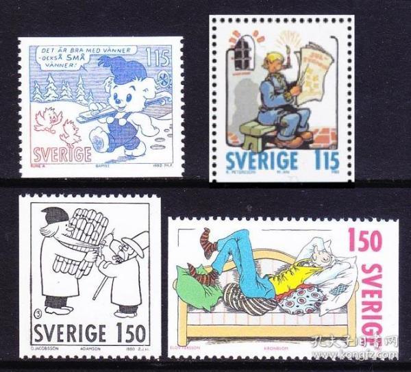 瑞典1980年 圣诞节 瑞典著名漫画 阿达姆松等 4全新