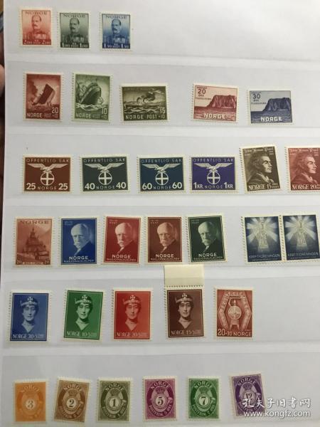 二战挪威老邮票 新票一页 最低下一行号角票赠送 上面都是二战1940年左右发行邮票 一套人物就50元了 鹰徽新票难寻 便宜出 先到先得