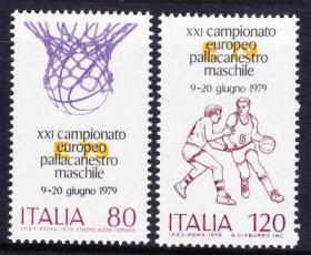 意大利邮票 1979年 欧洲篮球锦标赛 都灵 2全