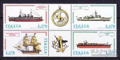 意大利邮票 1978 意大利航船 巡洋舰 导弹护卫舰 帆船 方连 4全