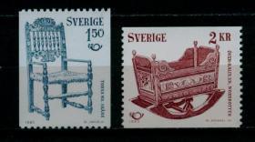 瑞典1980年 北欧合作 艺术 美术馆藏品 椅子摇篮 2全新雕刻版