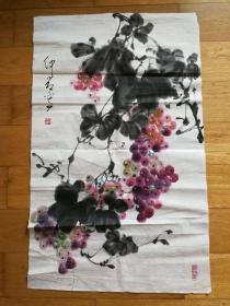 邵仲节  大写意国画葡萄  / 设色(彩色) / 纸本 / 软片 / 83 × 51 cm