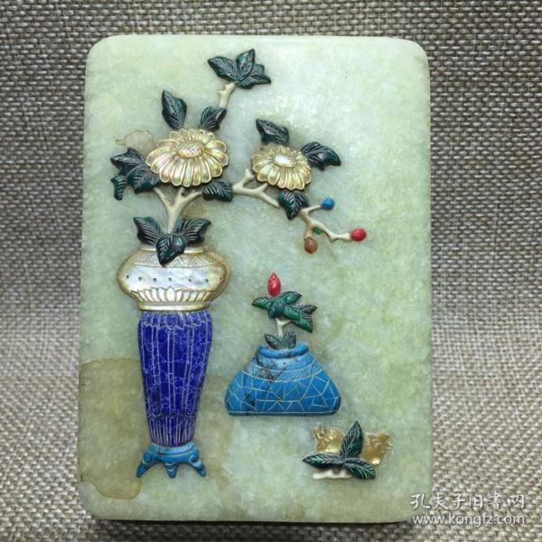 传世百宝嵌玉石长方形老墨盒一件