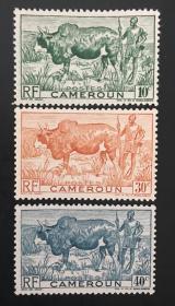 法属喀麦隆1946年瘤牛和牧民(保真,精美漂亮)