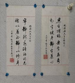 朱永志 书法 两幅  尺寸 35.5/14 。江苏真德拍卖有拍过他的书法