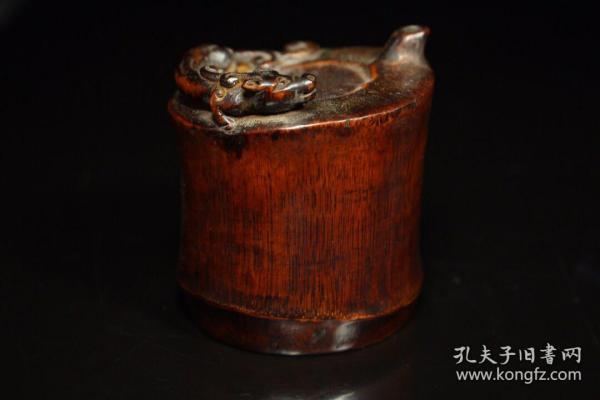 竹根手工雕刻赤龍水滴,360