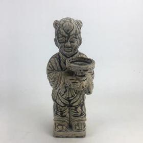 越窑青釉童子烛台