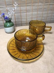 老玻璃杯 茶色咖啡杯 怀旧复古收藏vintage