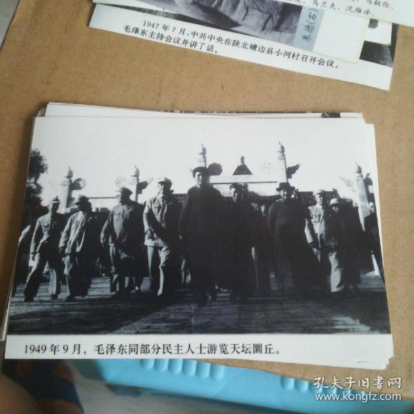 解放战争时期----1949年9月毛泽东同部分民主人士游览天坛圜丘合影黑白照片一张11cmx9cm