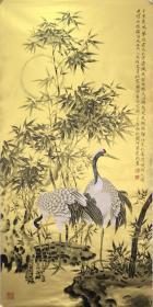 莫建成 精品 工笔花鸟  尺寸136x66cm           莫建成,现为中国美术家协会理事,甘肃省美术家协会主席,甘肃省国画家学会副会长,国家一级美术师,
