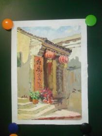 手绘水粉(水彩)《红灯笼门楼》(0078)
