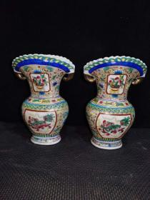 瓷器花瓶珐琅彩手绘粉彩大口花瓶一对