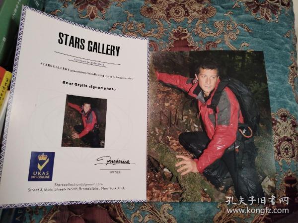 """【签名照】""""食物链顶端的男人""""贝爷 贝尔·格里尔斯 签名大尺寸照片 附证书"""