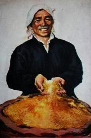 ●毛泽东时代美术:怀旧剪贴画《把好粮卖给国家(宣传画)》田郁之作【1958年17X12公分】!