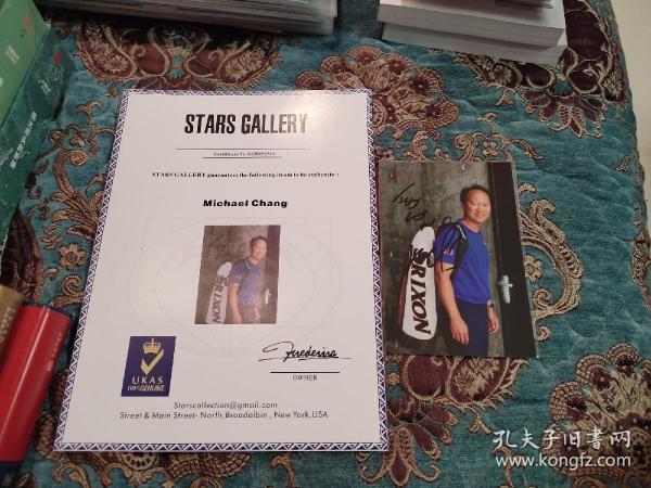 【签名照】著名华裔网球运动员,网球名人堂全球大使 张德培 签名照 附证书