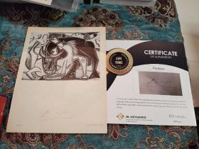 【签名版画】20世纪最伟大的艺术天才 巴勃罗·毕加索 签名1934年印制版画《奔跑的公牛》附证书