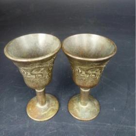 铜酒杯,老铜,龙凤呈祥,礼盒装,供杯,宣字底,摆件等。古玩爱好者必淘,时光穿梭,梦回唐朝