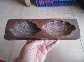 民国老模具手工雕刻老包浆荷花莲子糕点面食品老印模精品饽饽卡子