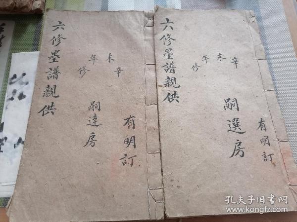 民国手抄族谱《六修墨谱亲供》两册全