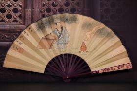 竹雕手绘人物折扇 长33cm   宽3cm   扇面展开62cm