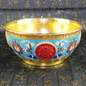 景泰蓝摆件传统铜胎掐丝珐琅(精品)万寿无疆金碗      ——8月19日