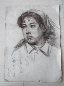 鲁美教授素描作品:扎头巾的女子肖像