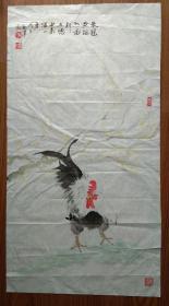 手绘真迹国画:山东省潍坊市画鸡名家冯益泽《鸡》