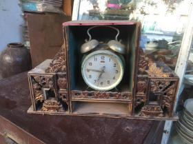早期潮州木雕,时钟几,送广州时钟一个