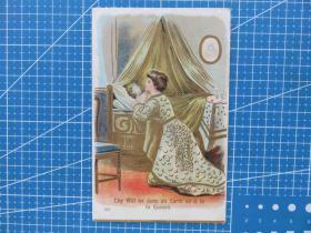 {会山书院}7#欧洲1910年左右(在祈祷的女孩)凸版、手写明信片-收藏集邮-复古手账