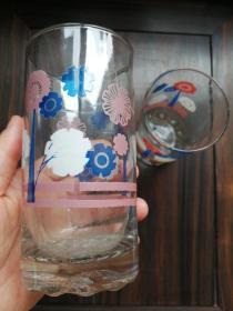 老上海玻璃杯一對