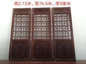 杉木隔扇屏风三片,茶楼会所装饰物