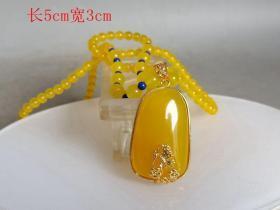 清代镶嵌黄玉挂件项链
