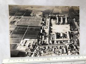 民国时期原版老照片:飞机上俯拍的城市全景老照片