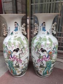 民国彩、双面工,300件 余钊作 粉彩赏瓶一对,麻姑献寿、刘海戏金蟾、四季花卉图,全品