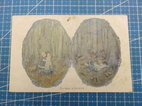 {会山书院}119#欧洲1910年左右(两个女孩在树林)空白未使用明信片-收藏集邮-复古手账-外国邮政