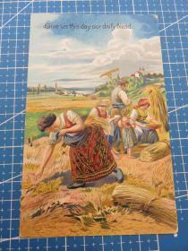 {会山书院}76#欧洲1910年左右(女孩)浮雕空白未使用明信片-收藏集邮-复古手账-外国邮政
