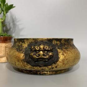 纯紫铜鎏真金香炉