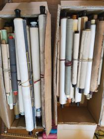 日本回流字画,共65幅,两大箱,书法绘画山水水墨,纯手绘绝大数,不挑不选,整箱走