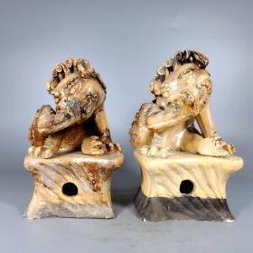 唐银光窑金银釉堆花狮子摆件12
