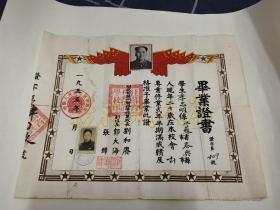 1955年江苏省扬州财政学校毛像毕业证书一张