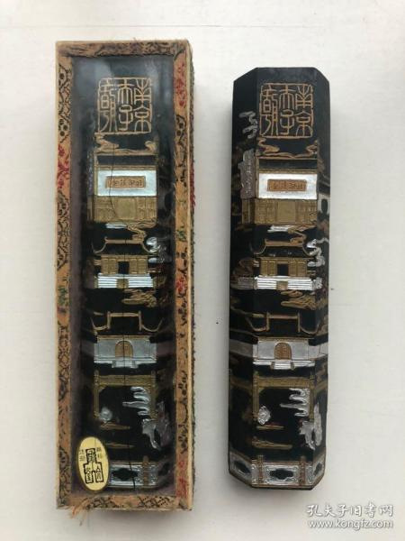 2錠八九十年代舊制金陵印社墨錠,描金圖案應為夫子廟題材