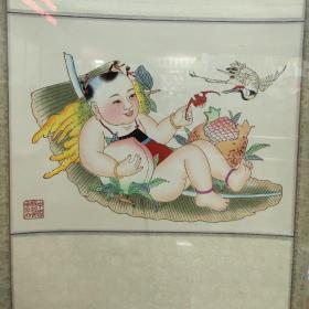 楊柳青年畫 福壽三多